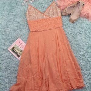 Badgley Mischka Peach Dress Size 4